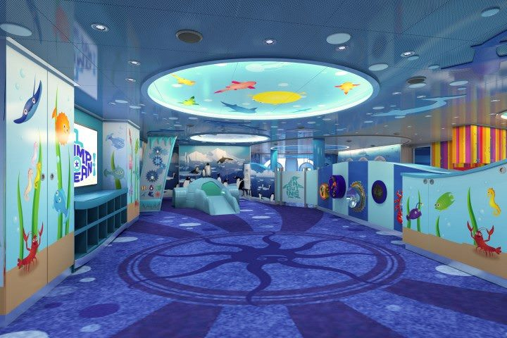 Family-friendly amenities, like this Camp Oceans playroom designed just for kids, are a big part of the forthcoming Carnival Vista. Rendering courtesy of Carnival Cruise Lines.