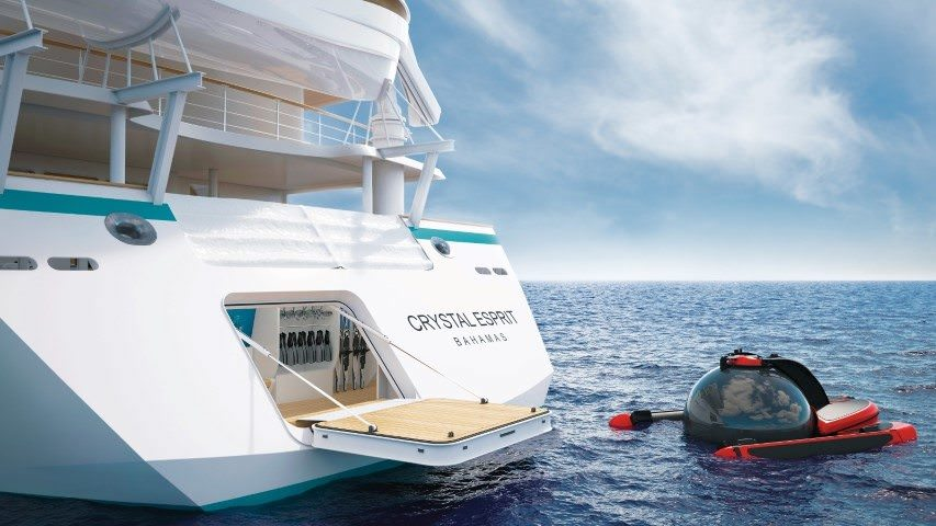 And Now For Something Completely Different: Crystal Esprit boasts her own small submersible craft. Illustration courtesy of Crystal Cruises