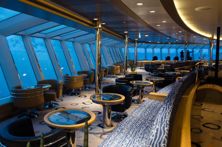 The Qilak Lounge aboard FRAM offers beautiful 180-degree views overlooking the ship's bow. Photo © 2015 Aaron Saunders
