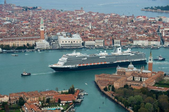 Holland America Line's new Koningsdam floated out in Venice. courtesy Holland America Line