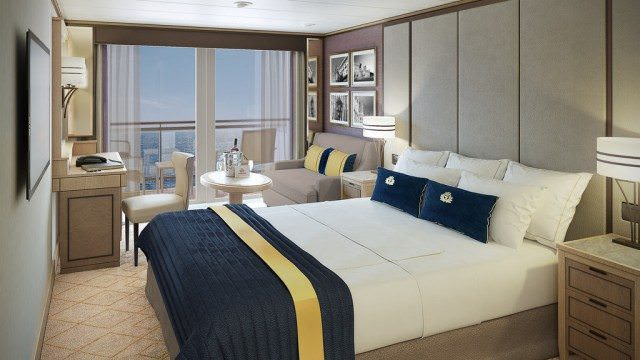 Britannia Club Balcony staterooms will be added to Deck 13, and all will receive new decor. Rendering courtesy of Cunard.