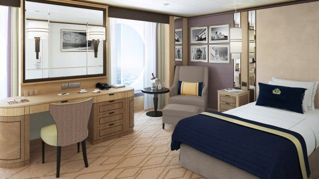 Rendering of one of Cunard's new Britannia Single Staterooms on Deck 3L, in place of the former Photo Gallery. Rendering courtesy of Cunard.