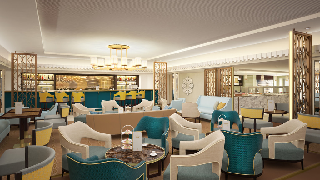 The new winter garden, as Carinthia Lounge. Rendering courtesy of Cunard.