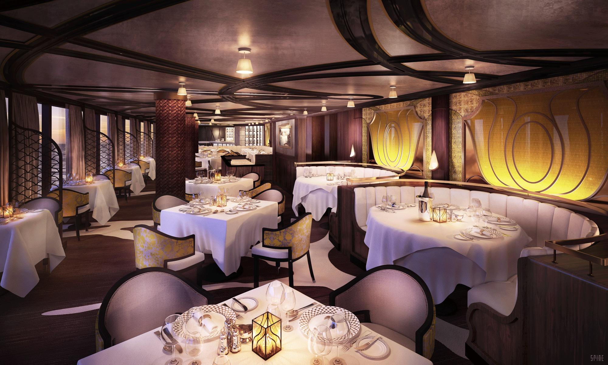 Elegant dining is on the menu in Chartreuse. Rendering courtesy of Regent Seven Seas