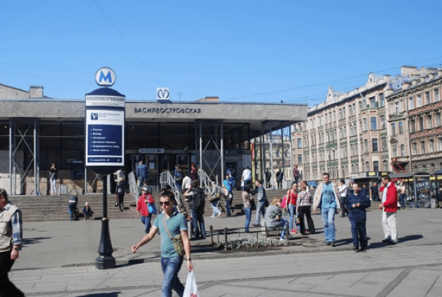 The Vasilevsky Island main Metro station closest to where major cruise ships dock