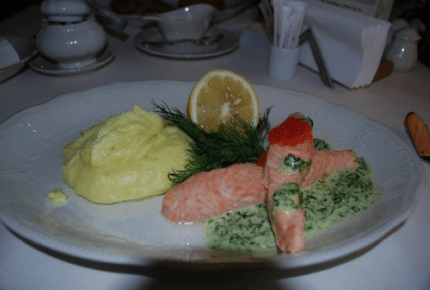 A delicious poached salmon lunch at Tsar, one of Saint Petersburg's great restaurants