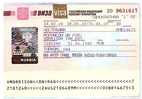 The Russian entry visa placed into your passport