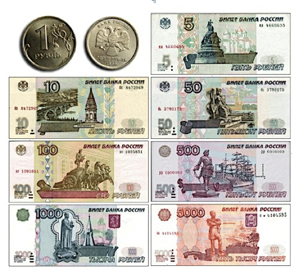 The Russian Ruble is the official currency of the nation
