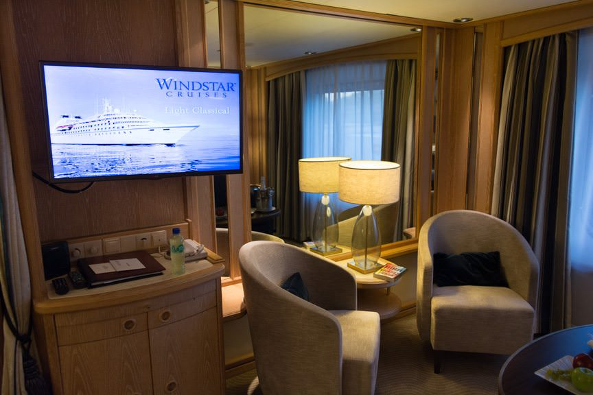 Infinitely Cozy: the sitting area in my category S3 Oceanview Suite. Photo © 2016 Aaron Saunders