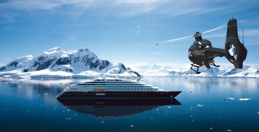 Scenic Eclipse, shown in a rendering depicting guests returning from tours in Paradise Bay, Antarctica. Eclipse will be Scenic's first-ever luxury expedition cruise vessel. Rendering courtesy of Scenic