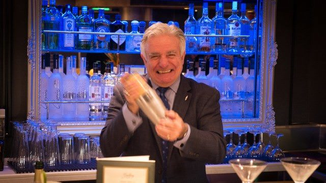Master Mixologist Dale DeGroff, aka King Cocktail, on Holland America Line's Eurodam. © 2016 Ralph Grizzle