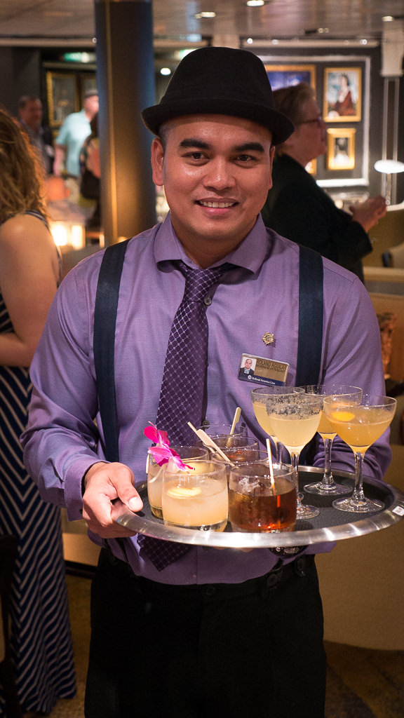 A new cocktail menu, such as a twist on the traditional Manhattan, debuts on Eurodam. © 2016 Ralph Grizzle