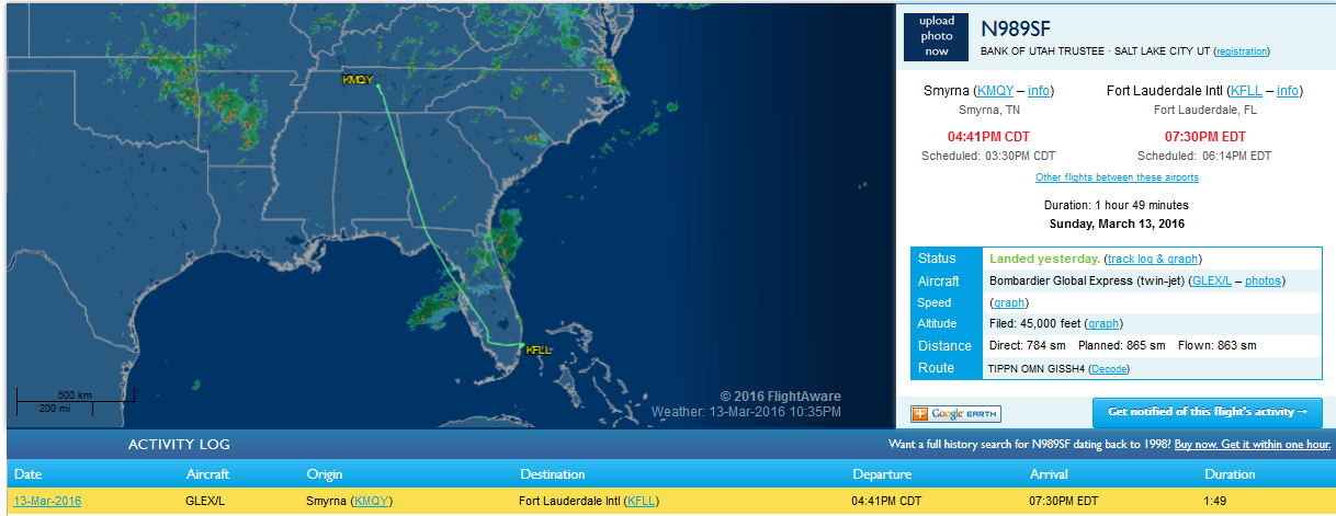 Tracking Crystal's charter jet on Flightaware.