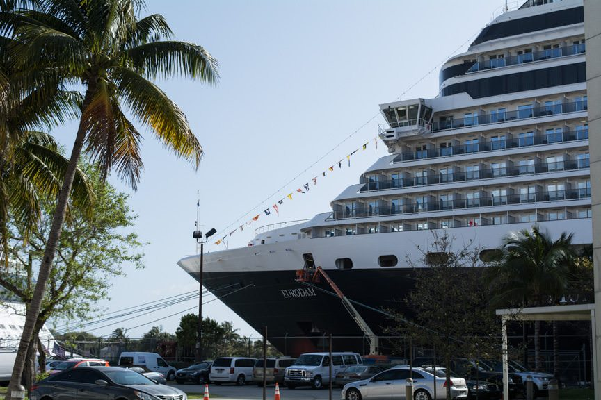 Holland America's Eurodam at the pier in Fort Lauderdale, Florida on Sunday, March 13, 2016. Photo © 2016 Aaron Saunders