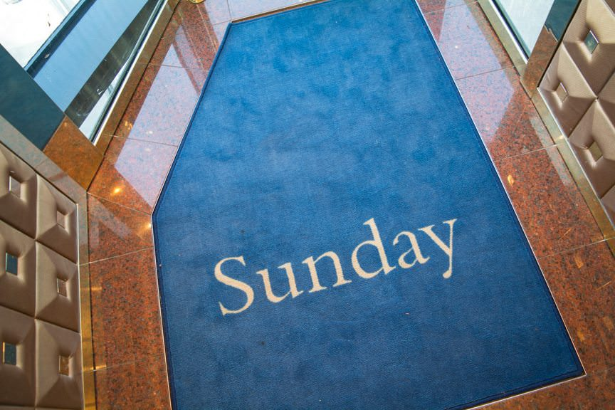 It's Sunday! You can always know what day it is on a 'Dam Ship' thanks to Holland America's changeable elevator floor mats. Photo © 2016 Aaron Saunders