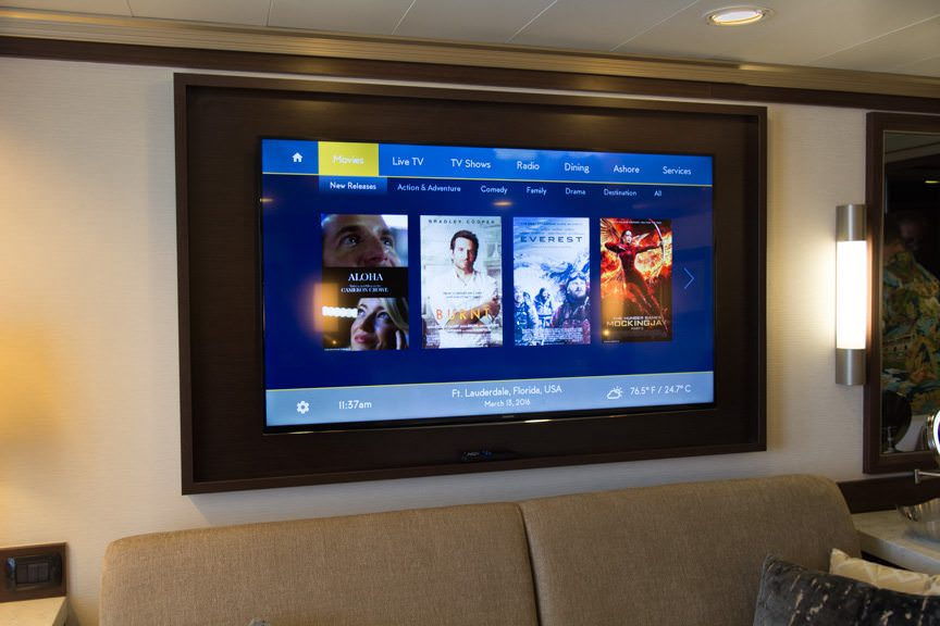 Brand-new inset flat-panel television screens feature complimentary video-on-demand movies and TV shows. Photo © 2016 Aaron Saunders