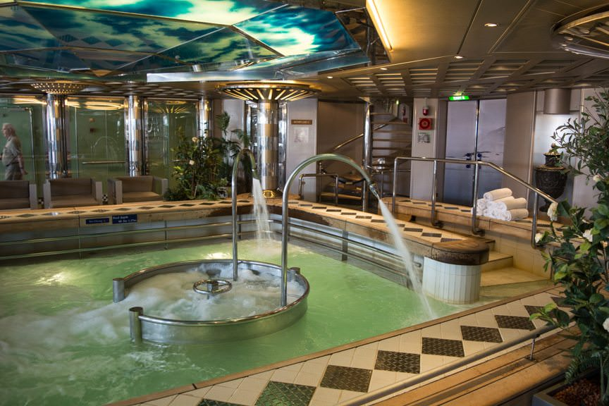One of my favorite features of Holland America's Vista and Signature-class ships: the wonderful Hydrotherapy Pool in the Greenhouse Spa. Photo © 2016 Aaron Saunders