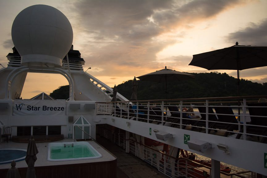 Sunset this evening aboard Star Breeze. Finding a favorite spot at the rail (or a favorite deck chair) is never an issue. Photo © 2016 Aaron Saunders