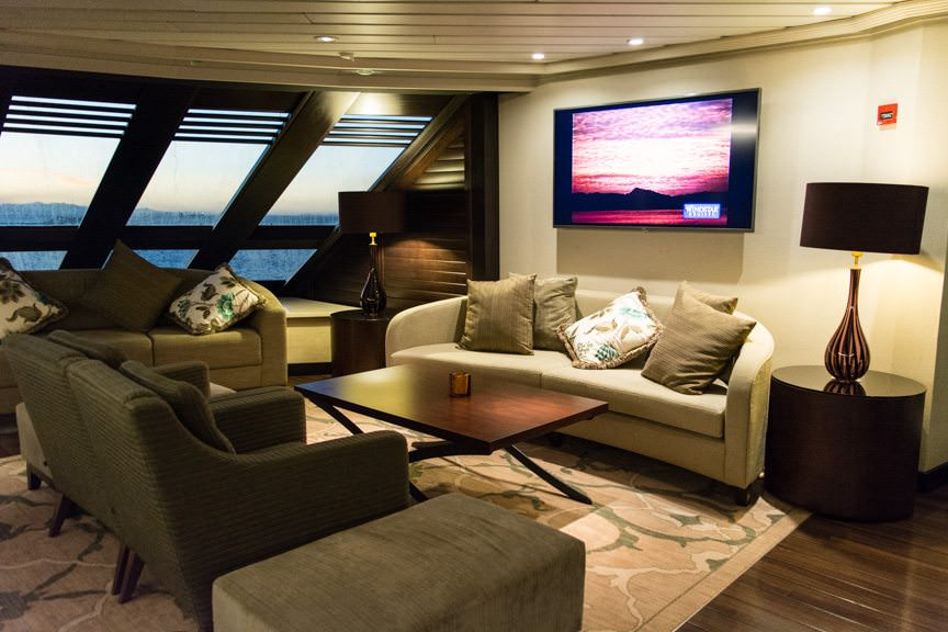 Grab a seat! The Compass Rose Lounge on Deck 6, like the rest of Star Breeze, is nothing if not cozy. Photo © 2016 Aaron Saunders