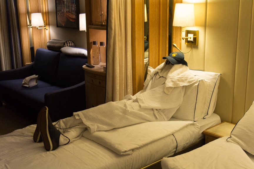 The most elaborate towel animal creation I've ever received: a mock person sleeping in my bed! A fantastic creation that scared the hell out of me when I came back to my stateroom - well done!! Photo © 2016 Aaron Saunders