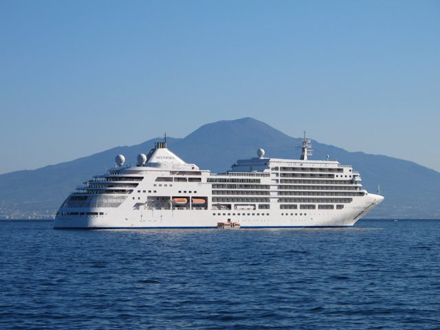 Silversea's Silver Spirit, at anchor off Sorrento, Italy. Photo © 2011 Aaron Saunders