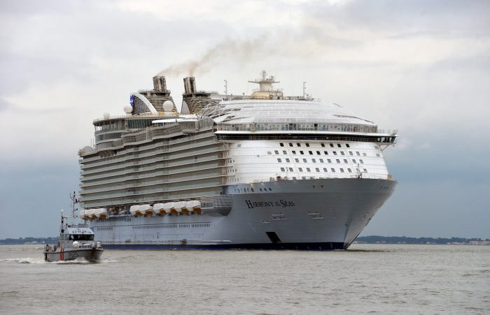 Harmony of the Seas, shown here on her sea trials off the coast of France. Photo courtesy of Royal Caribbean.