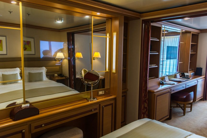 Veranda Suites aboard Silver Spirit also feature dual flat-panel television sets inset into the suite mirrors. Photo © 2016 Aaron Saunders