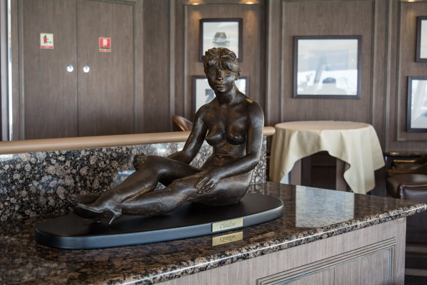 A new statue adorns the Observation Lounge on Deck 11...Photo © 2016 Aaron Saunders