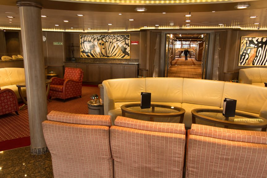 ...while the Panorama Lounge aft on Deck 9 retains its relaxing ambiance. Photo © 2016 Aaron Saunders
