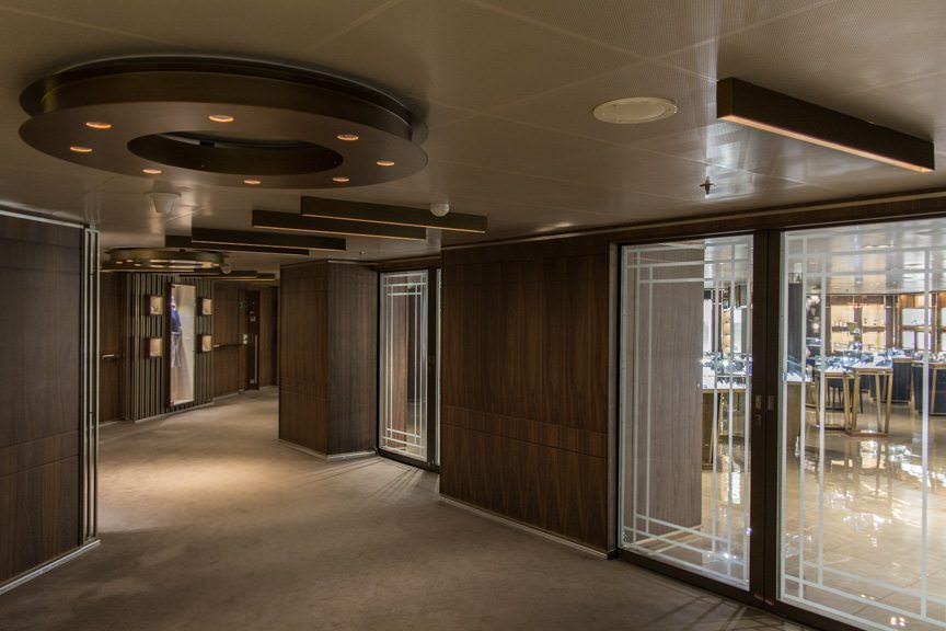 The Shops - Silversea's upscale onboard boutiques - have been given an entirely new look. Love the wall treatments; not sure about the carpeting. Photo © 2016 Aaron Saunders