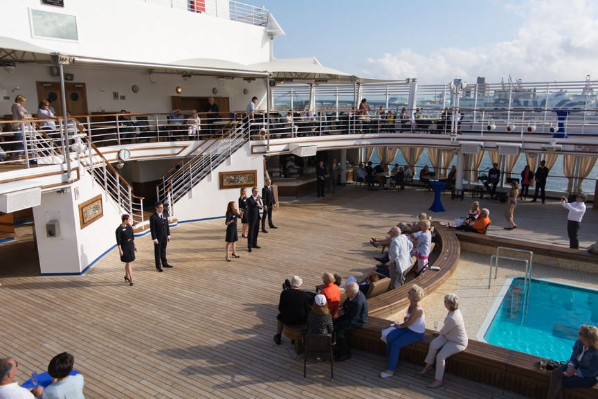 As the Artists of Silversea performed on the pool deck...Photo © 2016 Aaron Saunders