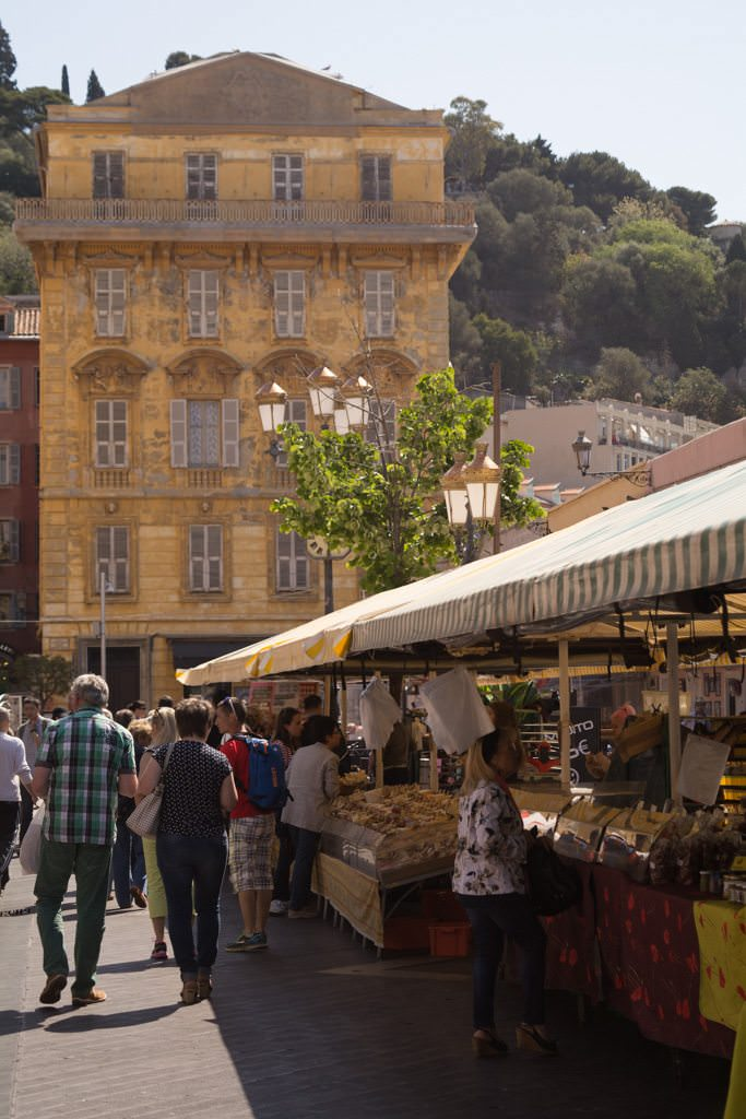 The Flower Market in Nice is a bustling area filled with local products - along with plenty of tourists. Photo © 2016 Aaron Saunders