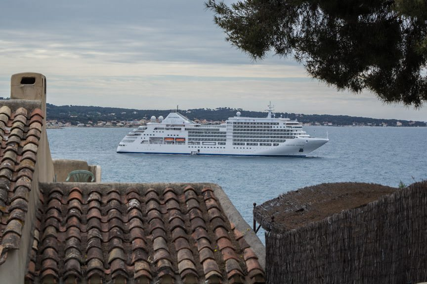 Silversea's Silver Spirit, docked off Sanary-sur-Mer, France today. Photo © 2016 Aaron Saunders
