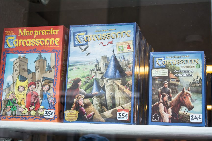 You can even buy Carcassonne - the game - in Carcassonne. Photo © 2016 Aaron Saunders