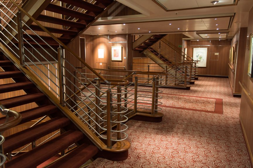 Hate crowds? Sail with Silversea. This is what disembarkation looks like - empty stairwells and no crowds. Photo © 2016 Aaron Saunders