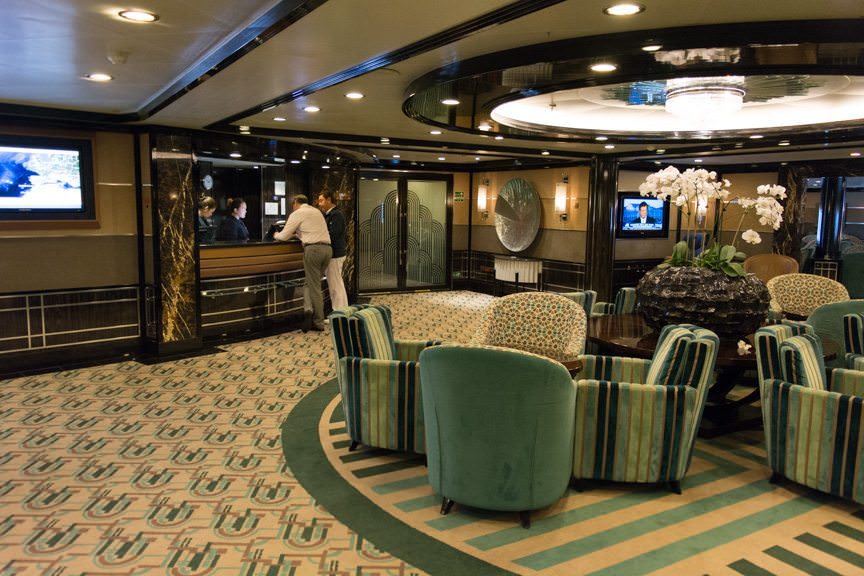 If you're relaxing in The Bar - or nearly anywhere on the ship - Silversea's All Around Dining will keep you fed! Photo © 2016 Aaron Saunders
