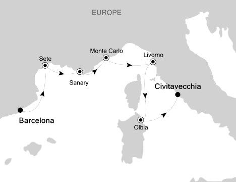 Silver Spirit Voyage 5609 - Barcelona to Rome. Illustration courtesy of Silversea Cruises