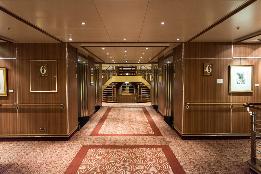 Silver Spirit's single-corridor design, with suites forward and public rooms aft, makes getting around a snap. Photo © 2016 Aaron Saunders