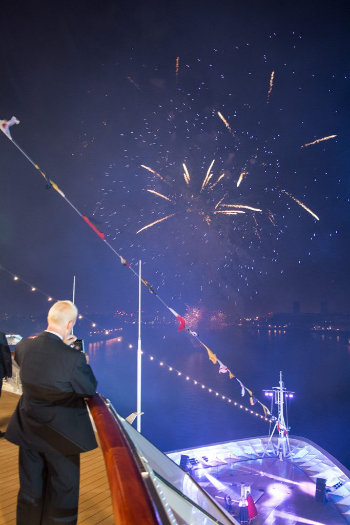 Fireworks were lit off over the bow and stern of Viking Sea along the Thames. Photo © 2016 Aaron Saunders