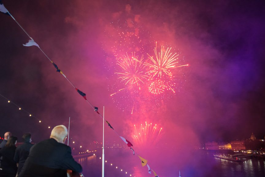 Fireworks blanketed the skies over Greenwich and the River Thames as Viking officially christened its second oceangoing ship. Photo © 2016 Aaron Saunders