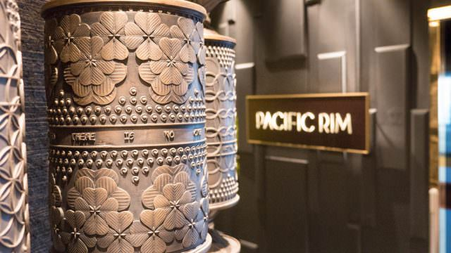 The prayer wheel outside of the Pacific Rim restaurant weighs 6,000 pounds and cost $500,000. The weight, however, was more of an extravagance than the cost as the shipyard had to engineer support. © 2016 Ralph Grizzle