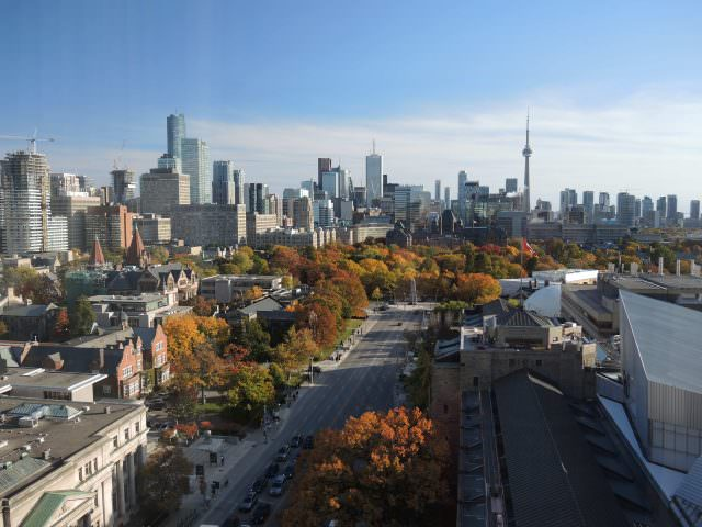 The dramatic skyline looking south from the Park Hyatt Hotel in Yorkville