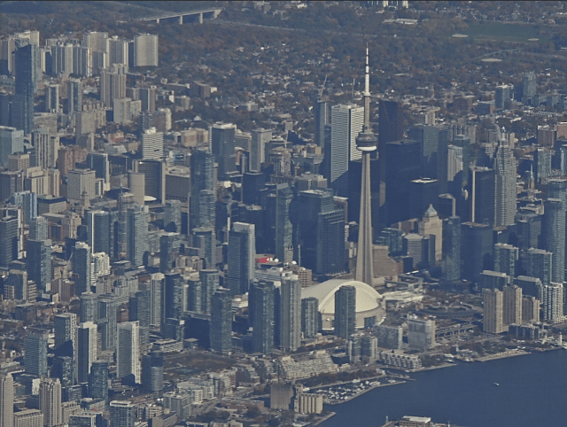 An awesome aerial view of Toronto's massive and impressive downtown area