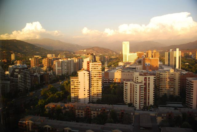 Looking toward the high Andes at sunset from suburban Los Condes