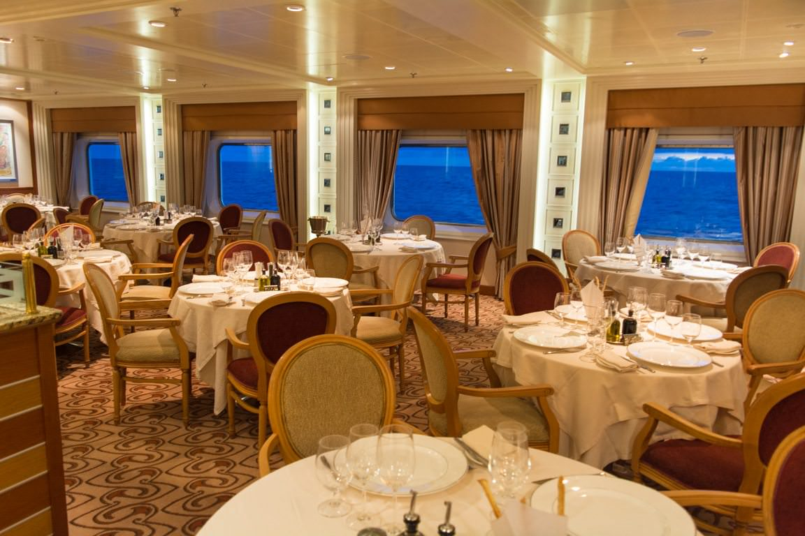 Fine dining in The Restaurant aboard Silver Shadow. Photo © 2016 Aaron Saunders