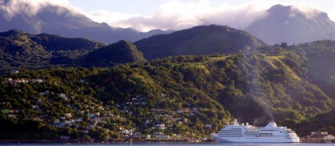 Silver Whisper, docked in Dominica. © 2012 Ralph Grizzle