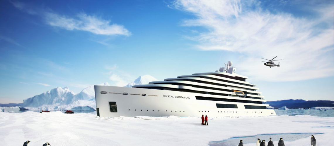 Crystal Endeavor sets sail in 2018. Rendering courtesy of Crystal Cruises