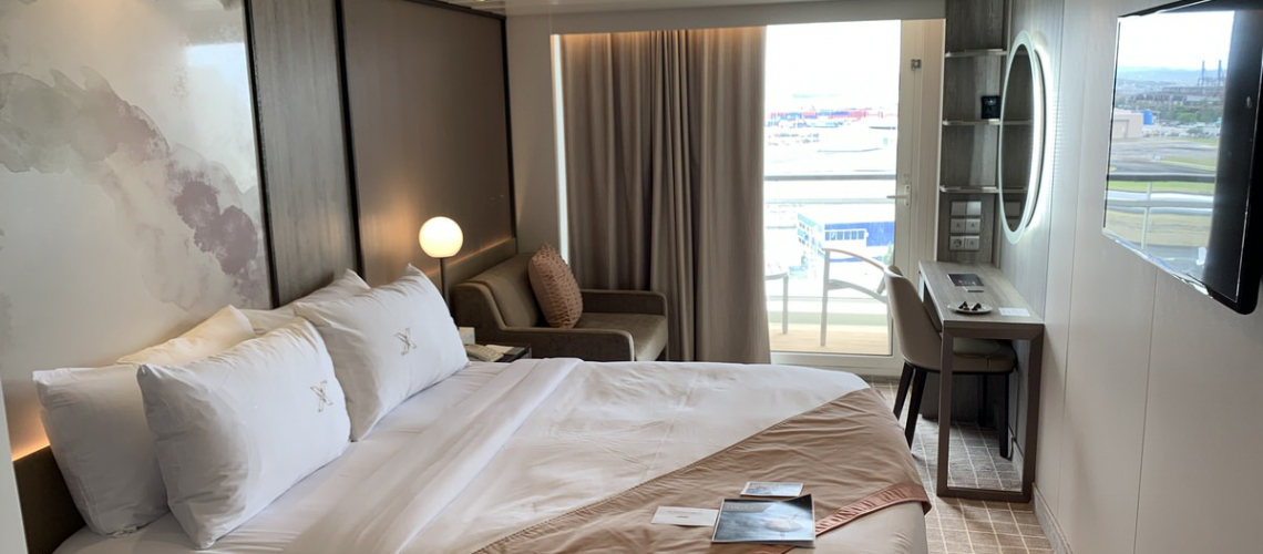The newly redesigned staterooms aboard Celebrity Summit featured a beautiful and timeless design. © 2019 Britton Frost