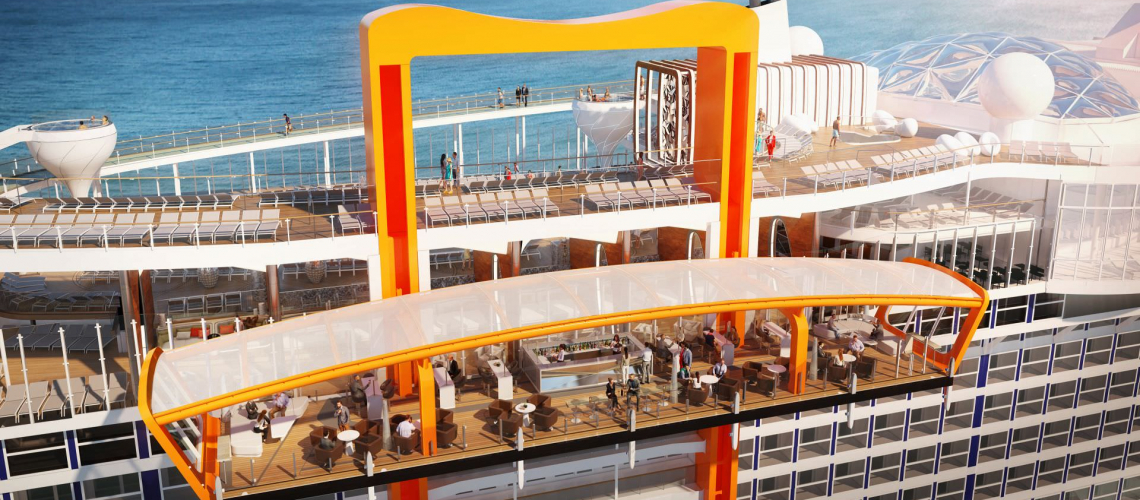 The Magic Carpet aboard Celebrity Edge will move between Decks 2 and 16. Rendering courtesy of Celebrity Cruises