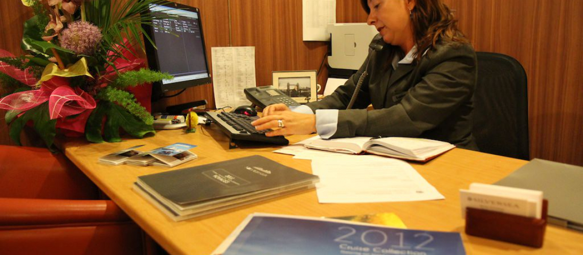 Iwona Goodman, Silversea cruise consultant, busy selling world cruises.